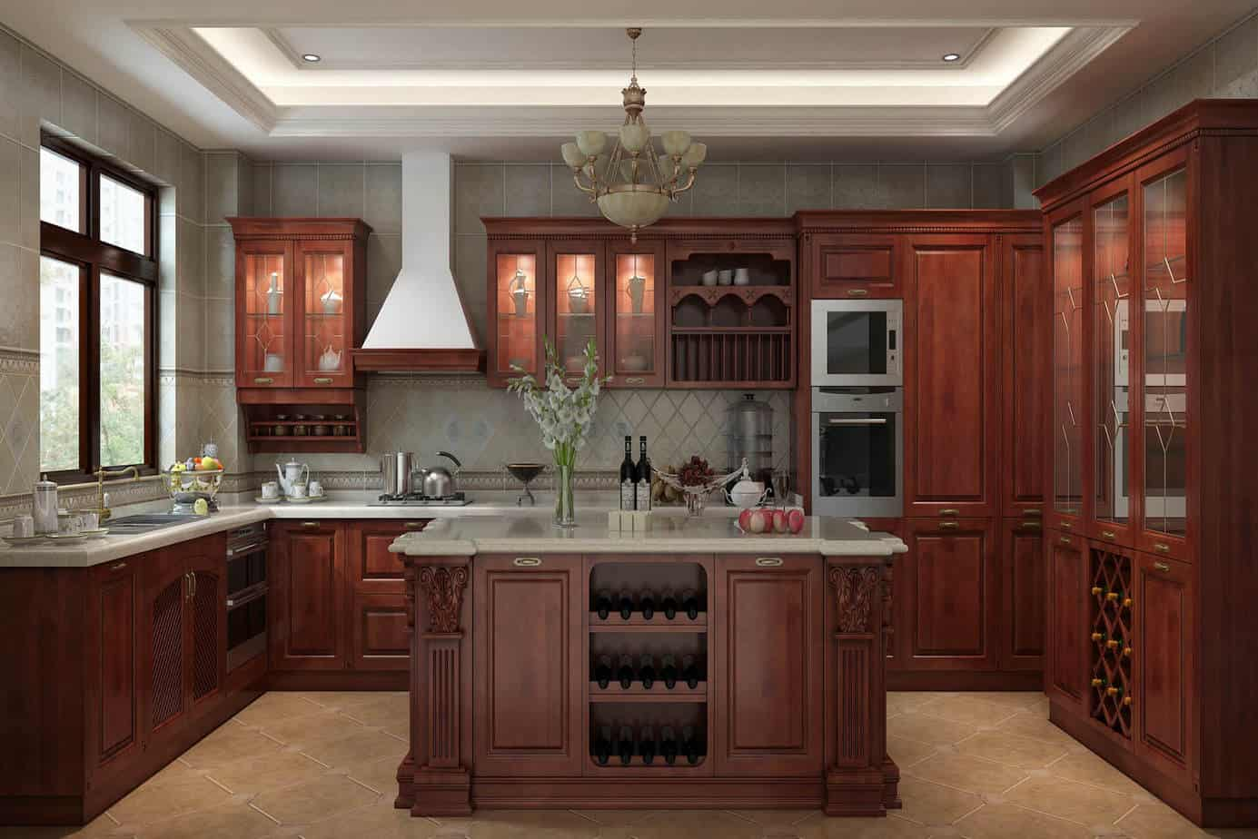 Solid Wood Cherry Kitchen Cabinets