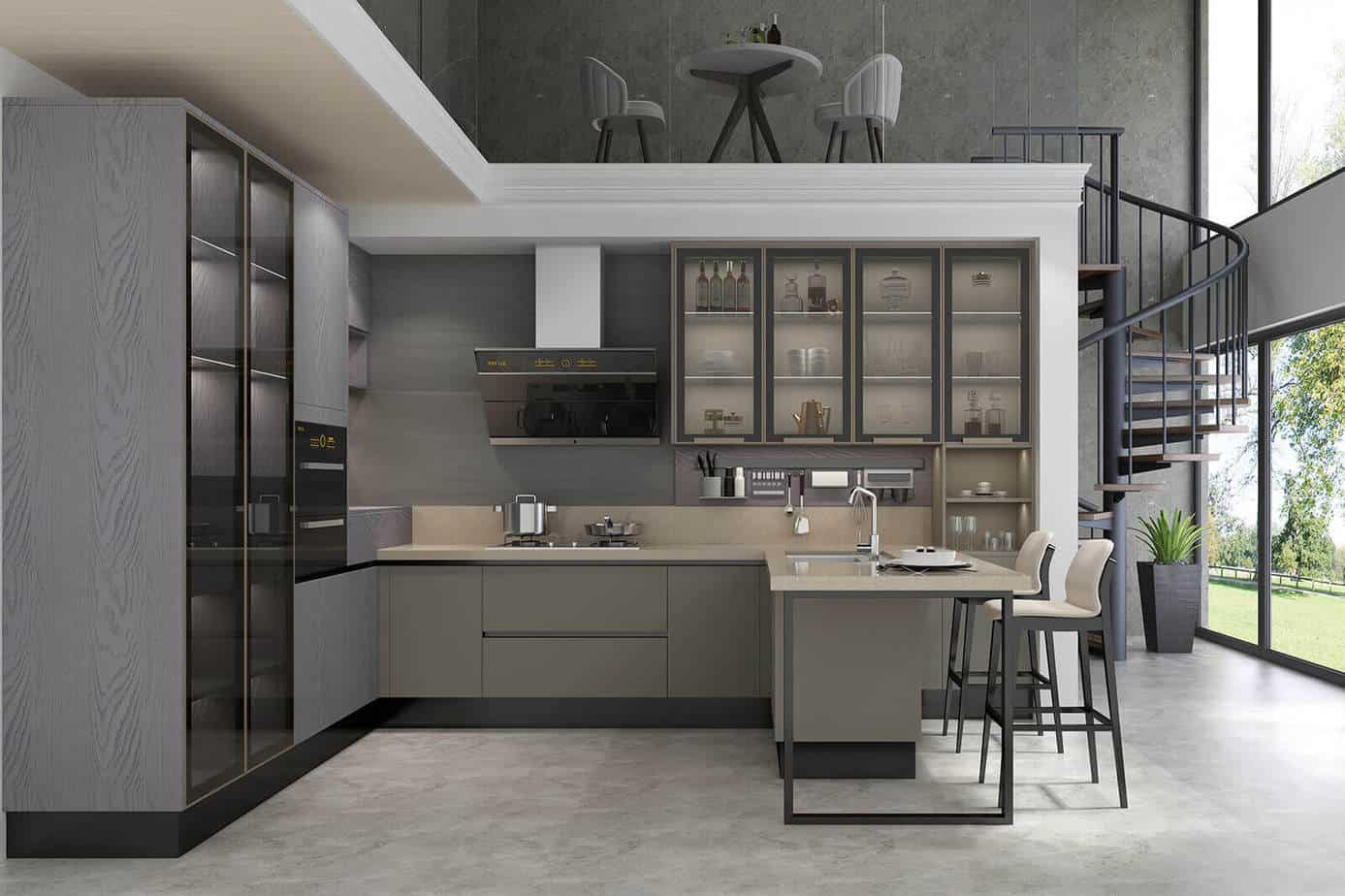 Grey Kitchen with Oak Cabinets