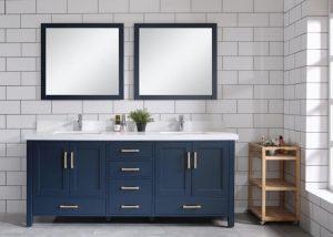 Bathroom with blue vanity