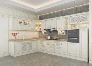 Traditional kitchen cabinets with modern hardware